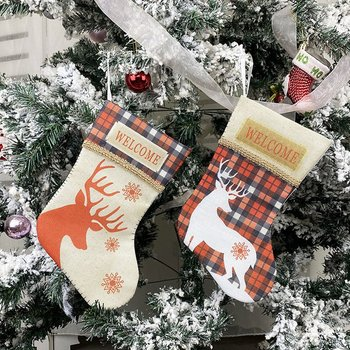 2021 New Year Gifts Bag Christmas Stocking Christmas Decorations For Home Hanging Gift Socks Tree Decoration DIY Supplies недорого