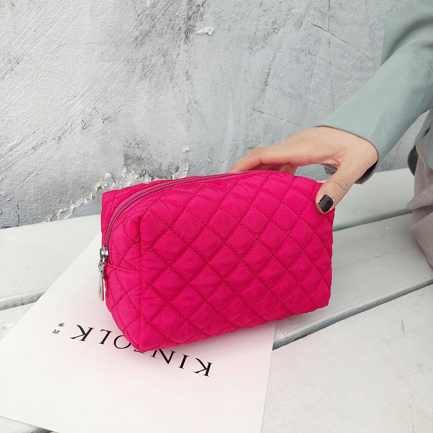 Women Cosmetic Bag Solid Multifunction Travel Make Up Bags Zipper Makeup Case Pouch Pencil Case Red Black