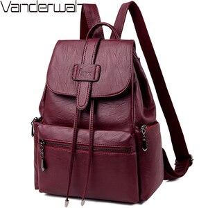 Image 1 - 2020 Leather Backpacks Women Casual Back pack Sac a Dos Femme Travel Backpack school bags for teenage girls mochila feminina