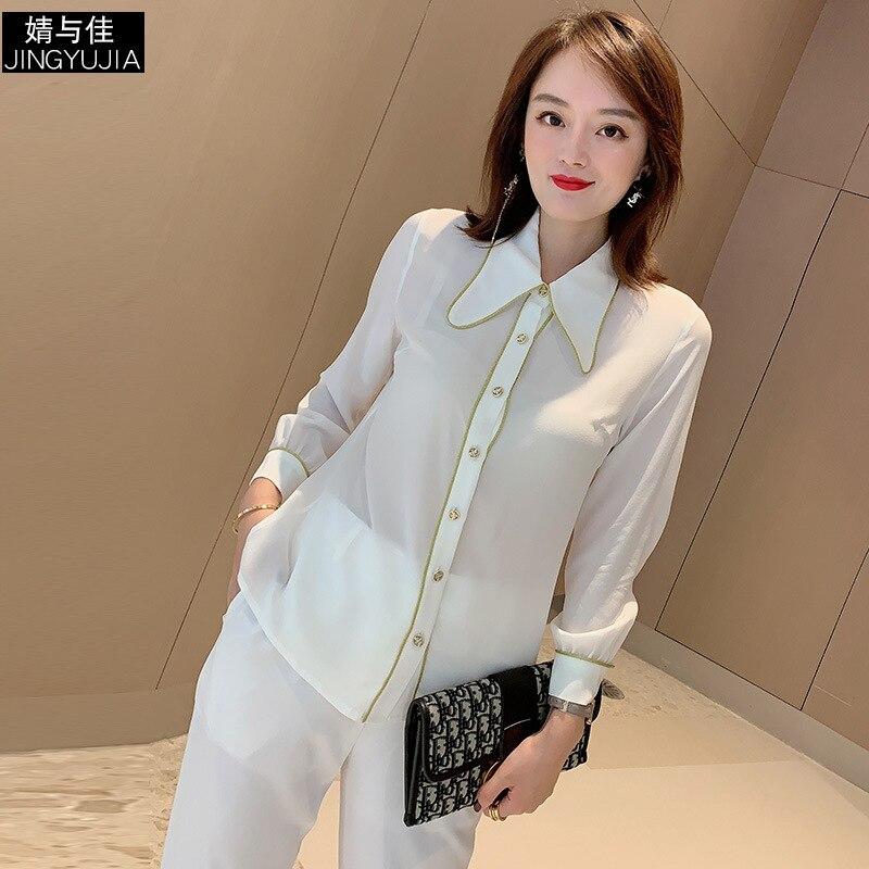 Chemise en soie femmes 2019 automne dames mode couleur unie col rabattu simple boutonnage poignet longueur manches chemise blanche S XXL