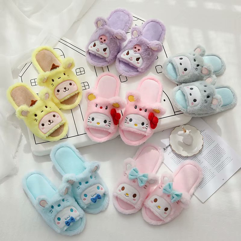 Hello Kitty Sanrio Girls Plush Pink Polka Dot Slippers