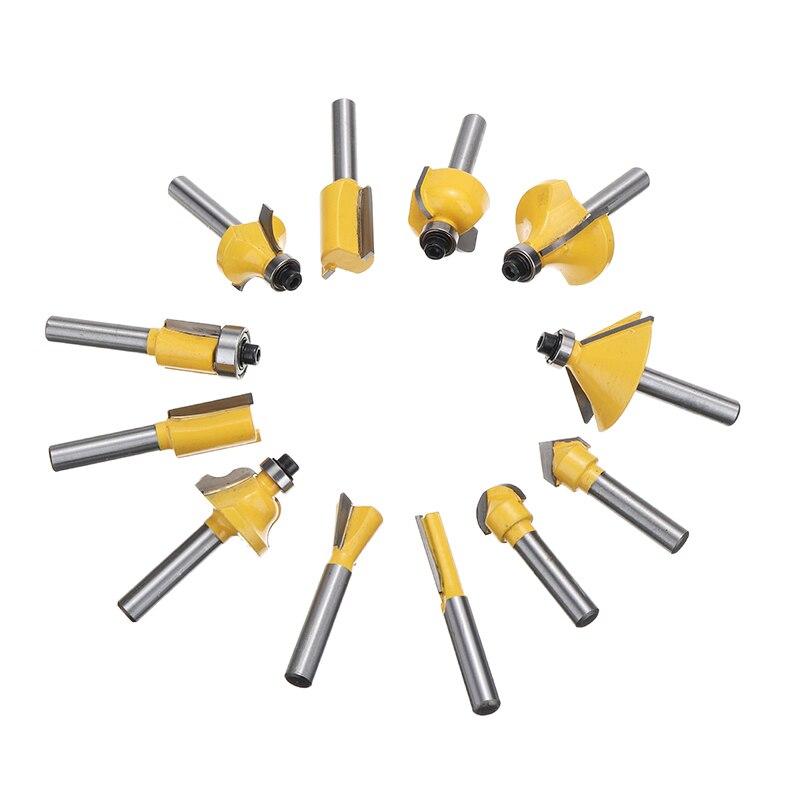 12pcs 1/4inch Straight Template Cutter 6.35mm Shank Flush Bearing Wood Template Drill Bit Woodworking Milling Drill Bit