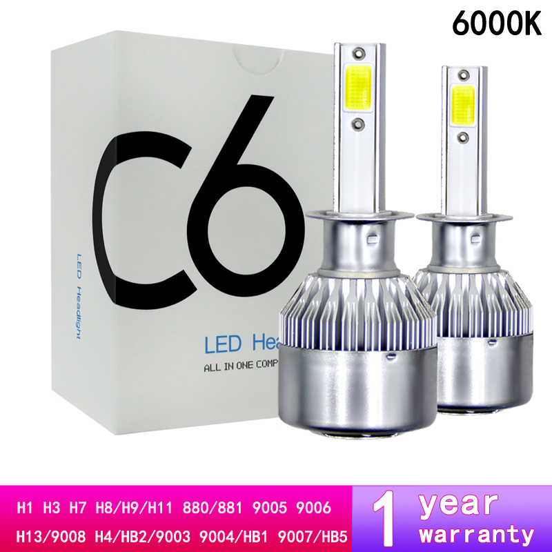 <font><b>C6</b></font> 12V <font><b>H1</b></font> H3 880/881 H7 H11/H8/H9 <font><b>LED</b></font> <font><b>Headlight</b></font> Auto Lamp 9005/HB3 9006/HB4 H4 Hi/Lo <font><b>Headlight</b></font> Kits 9004/HB1 9007 H13 COB Bulbs image