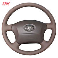Yuji Hong Car Steering Wheel Covers Case for Toyota Prado 2004 2006 Land Cruiser 2006 LC120 Hand stitched Top Layer Cow Leather