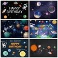 Laeacco Космос астронавт Новорожденные фоны Вселенная Планета Земля Луна детский душ день рождения фотографии фоны фотостудия
