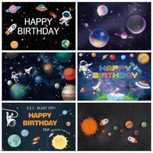 Laeacco Space Astronaut Newborn Backgrounds Universe Planet Earth Moon Baby Shower Birthday Photography Backdrops Photo Studio