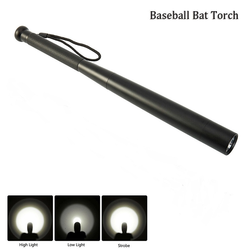 Self Defense Baseball Bat LED Flashlight Tactical Zoomable Torch Lamp 3 Mode Light For Emergency And Self Defense