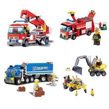 Bloques de construcción modelo Legoinglys de camión excavadora de transporte de lucha contra incendios de la ciudad iluminar juguetes para niños regalo de Navidad