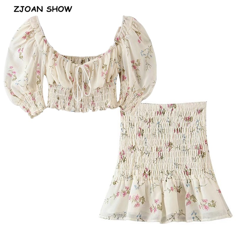 2020 Beige Floral Print Short T-shirt Ruched Crop Top Sexy Women Elastic Waist Mini Short Skirt Puff Sleeve Tops 2 Pieces Set