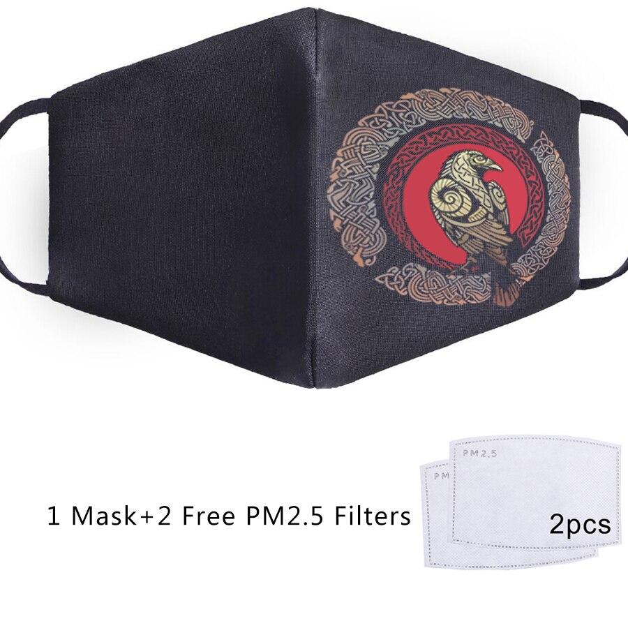 Art Logo Viking Print Mask Reusable Masque Anti PM2.5 2Pcs Filter Mouth Mask Maska Anti Dust Face Mask Bacteria Proof Flu Mask