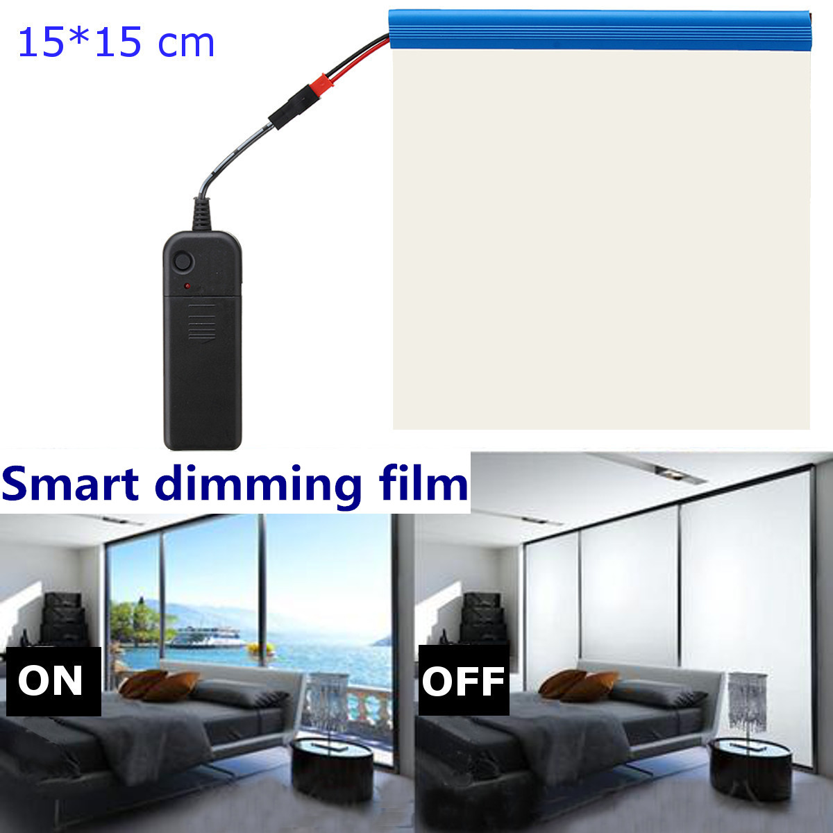 Sample 15*15 Cm Electric Self-adhesive PDLC Film Dimming Smart Glass Window Door Tint Smart Film
