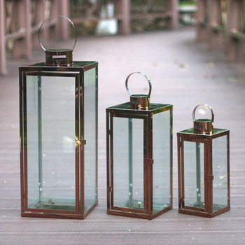 Windproof Gold Hanging Outdoor Candle Holder Glass Vintage Windproof Candle Holder Glass Romantic Bougeoirs Home Decor JJ60ZT