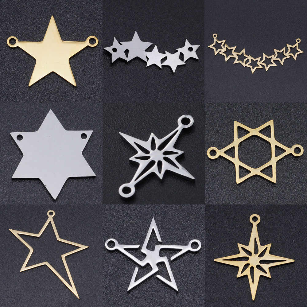 5 pçs/lote estrela de david diy brinco encantos atacado 100% conectores meteoros de aço inoxidável charme pingente de jóias estreladas