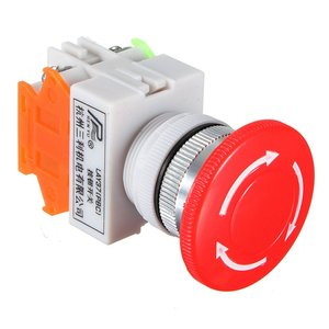 1 NC N/C DPST Emergency Stop Switches Push Button Switch Mushroom 4 Screw Terminals 600V/10A