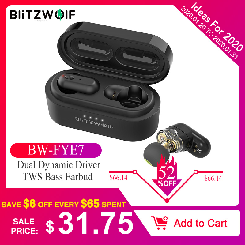 [Dual Dynamic Driver] Blitzwolf BW-FYE7 <font><b>TWS</b></font> Bluetooth V5.0 In-ear Earphone Bass Stereo Bilateral Call Earbud Wireless Headphones image