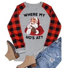 Christmas T-shirt Womens Fashion Print Plaid Colorblock Long Sleeve Round Neck Plus Size Loose Tops Tee(China)