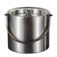New 3L 2 Tier Stainless Steel Insulation Ice Bucket with Lid Handle for Wine Champagne Bar Ktv