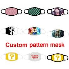 Masque facial Lavable en tissu de Coton, imprimé personnalisé, protection Anti-poussière, réutilisable, respirant