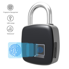 Fingerprint Padlock USB Rechargeable Smart Keyless Fingerprint Locks Waterproof Anti-Theft Security Padlock Luggage Case Lock