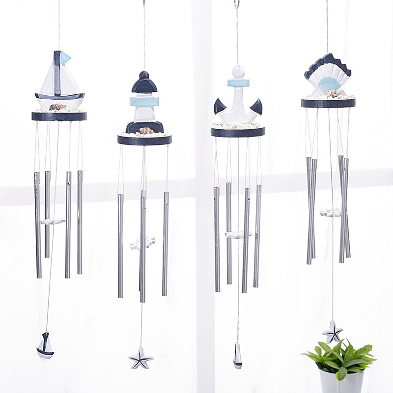 Mediterranean style home marine elements wind chimes pine carved starfish sailing small fish wooden pendant crafts