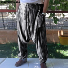 INCERUN Striped Drop Crotch Harem Pants Men Baggy Hip-hop Ethnic Style Joggers 2019 Vintage Trousers Mens Streetwear 5XL 7