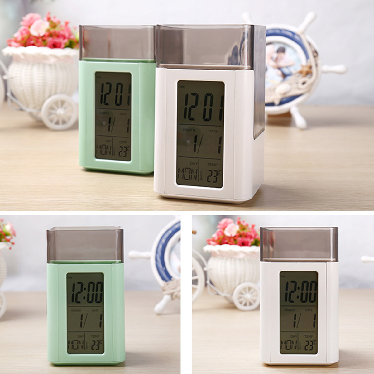 Plastic Multi-functions Digital Desk Pen/Pencil Holder LCD Alarm Clock Thermometer & Calendar Display Home Decor White & Green