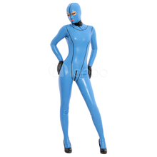 Высококачественные женские Синие Блестящие Металлические вечерние сексуальные латексные облегающий костюм женский лайкровый зентай костюм из спандекса на все тело Косплей Костюм