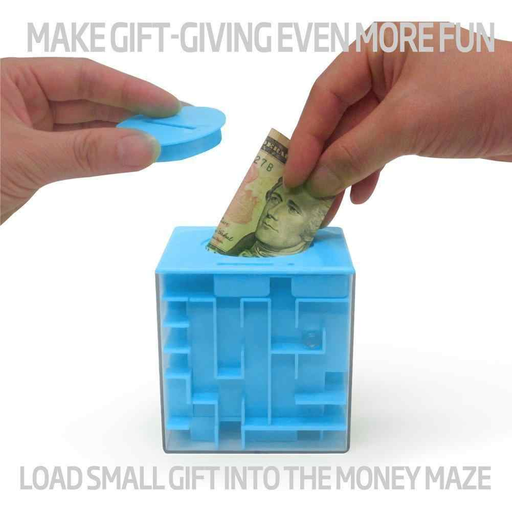 None Maze: Unique Way to Give Small Gifts, Items - Perfect Gift Puzzle Box for Kids - Cool 1, 2, 5 Dollar Coin Piggy Bank