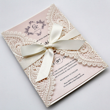 White Lace Laser Cut Wedding Invitations with Blush Pink Shimmer Insert, Elegant Invite Cards for - Set of 50 pcs