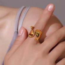 SRCOI открытое регулируемое размер Золото Серебро Цвет нерегулярное металлическое кольцо на палец качество уникальное гладкое геометрическое кольцо для женщин ювелирные изделия