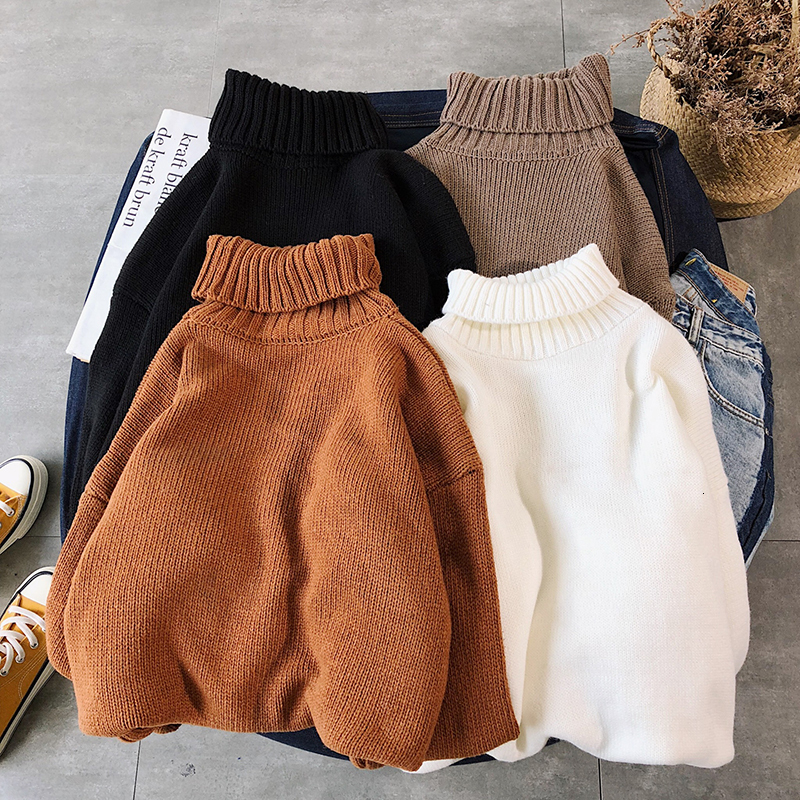 Winter Thick High Collar Sweater Men Warm Fashion Solid Color Knitted Sweaters Man Wild Loose Pullover Men Sweter Clothes M-2XL