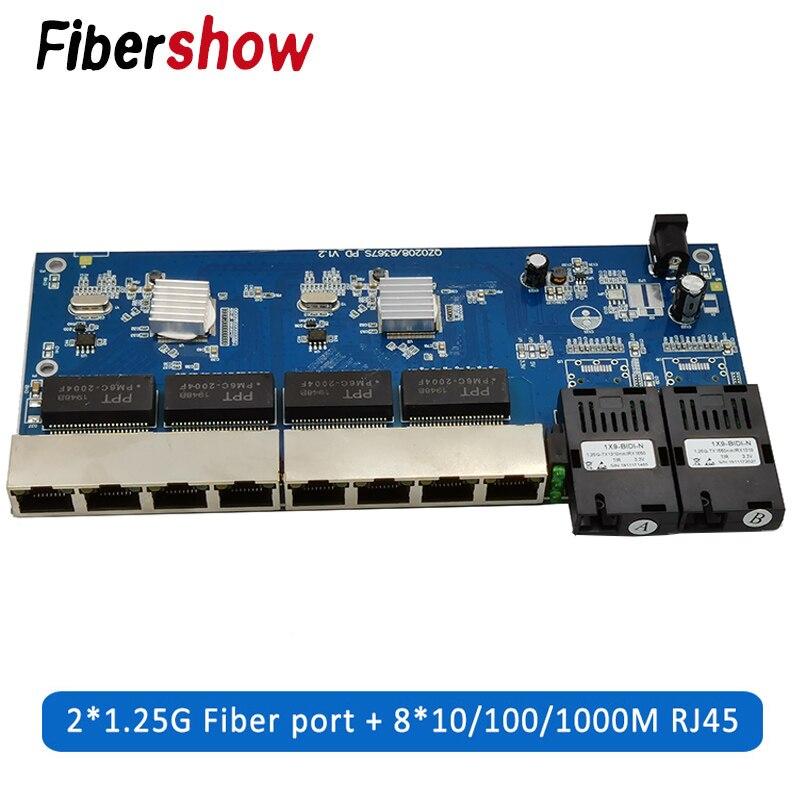 Gigabit Ethernet switch Faser Optischen Medien Konverter PCBA 8 RJ45 UTP und 2 SC fiber Port 10/100/ 100 0 M Board PCB