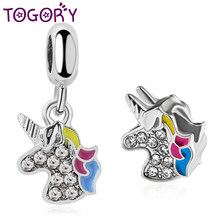 2Pcs/lot Fashion Cute Unicorn Charm Pendant fit Pandora Bracelet Necklaces For Women Colorful CZ DIY Silver Jewelry Accessories(China)