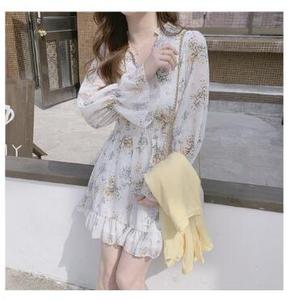 Image 5 - Cute Mini Dresses Party Date Wear Woman Long Sleeve Korea Japan Ruffled Sweet Girls Little Floral Chiffon Dress 8503