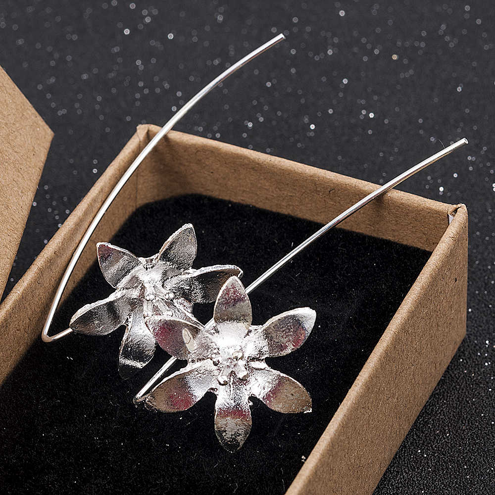 Cute/Romantic Silver Plated Long Drop Dangle Tassel Hook Handmade Temperament Earrings Lotus Earrings Women Jewelry
