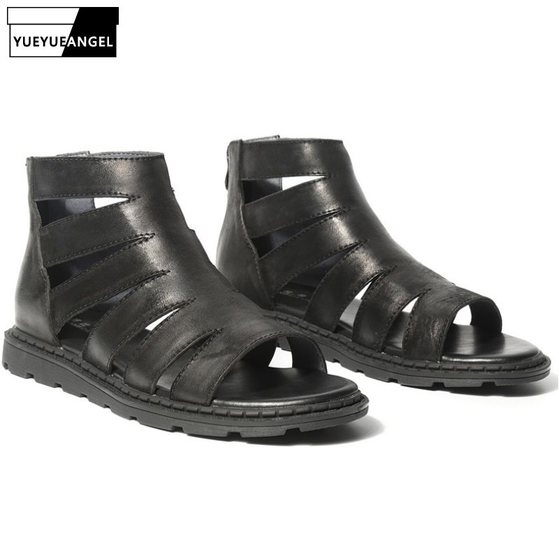 2019 Summer Hollow Out Casual Men Sandals Fashion Genuine Leather Gladiator Sandals Open Toe Flats Beach Shoes Male Black White