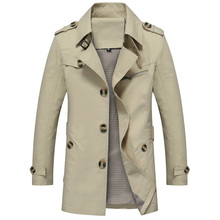 Mens Trench Coat Fashion Designer Autumn Slim Brand Mens Jacket Cotton