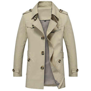 Mens Trench Coat Fashion Designer Autumn Slim Brand Mens Jacket Cotton Windbreaker Coats Male Size L-5XL - DISCOUNT ITEM  35% OFF All Category