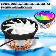 Enfriador de CPU con 4 tubos de calor LED RGB, ventilador de refrigeración para PC de 120mm, radiador para Intel LGA 1150/1151/1155/1156/1366/775 para AMD AM3 + AM3 AM2 + AM2