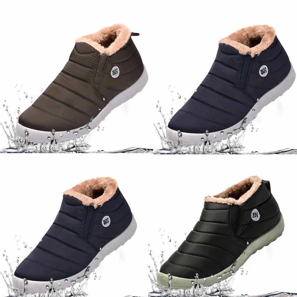 SAGACE moda erkek artı kadife sıcak açık spor ayakkabı su geçirmez kar pamuk çizmeler 39-48 düz renk olmayan kayma manşet ayakkabı