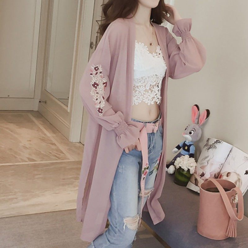 Summer Kimono Cardigan Pink White Women Flare Sleeve Floral Embroidery Chiffon Blouse Long Shirt Women Cardigans Hot Sale