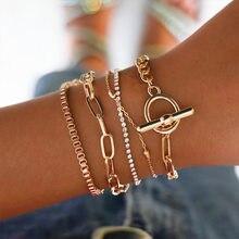 Europeu e americano jóias com ins corrente ot fivela círculo 5-piece pulseira para presentes de festa feminino atacado