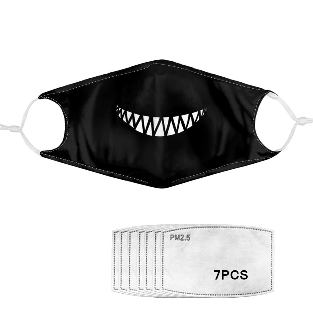 Hot Sales Black Gothic Skull Teeth Printed Cool Mask Washable With Active Carbon PM 2.5 Filters Mouth Tapa Bocus