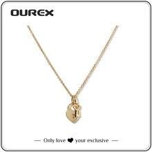 Ourex chave e para sempre amor pequeno coração colar pingente de aço inoxidável alta qualidade ouro cor jóias para presentes de amor feminino