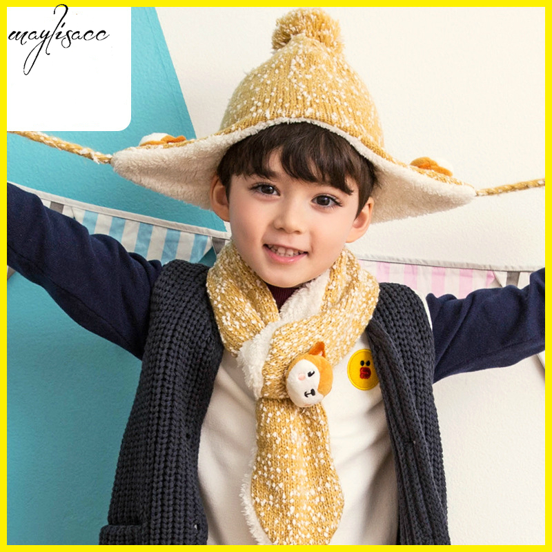 Maylisacc Baby 3-6 Years Old Children's Scarf Hat Set Autumn And Winter Warm Two-piece Set Hats Scarves For Boys And Girls