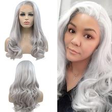 Длинный волнистый парик для женщин и девочек из высокотемпературного серебристо серого синтетического кружева