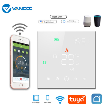 Smart Thermostat Wifi LCD Touch Screen Temperature controller For Electrical / Water Heating Systems Work With Alexa Google Home lcd touch screen smart wifi big digital temperature thermostat touch screen warm floor heat controller thermostat