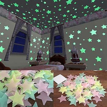 100/40Pcs 3D Stars Starry Sky Wall Glow Stickers LED Night Light Glowing In The Dark Desk lamp Room Home Decoration Sticker image