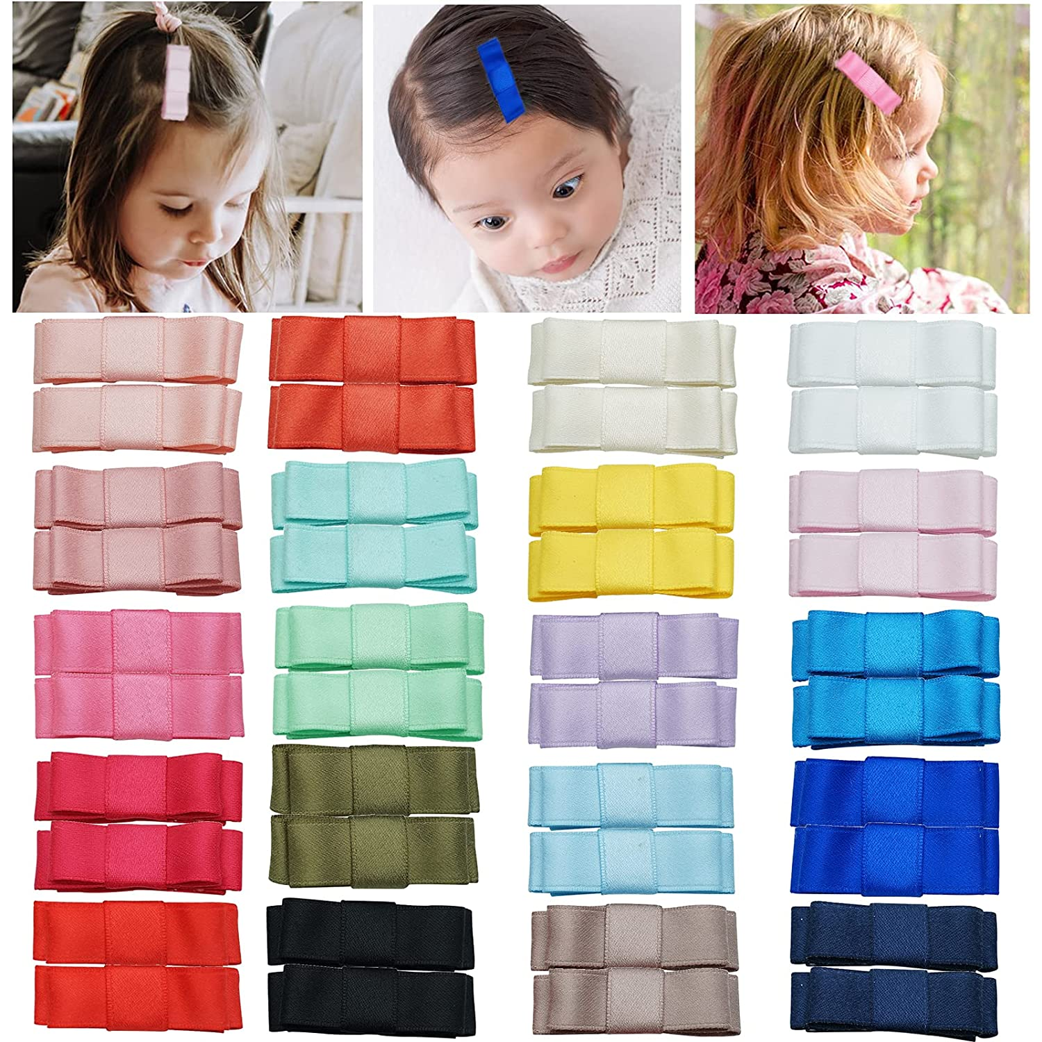 40 Pieces 20 Colors in Pairs Mini Bow Tie Hair Bows Snap Hair Clips for Baby Girls Toddlers and Kids