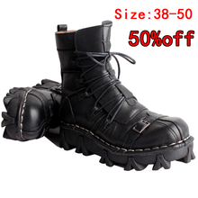 Martin boots Mens Cowhide Genuine Leather Motorcycle Boots Military Combat Gothic Skull Punk Mid riding